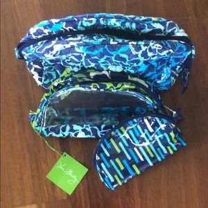 Vera Bradley Catalina Blues Travel Pouches